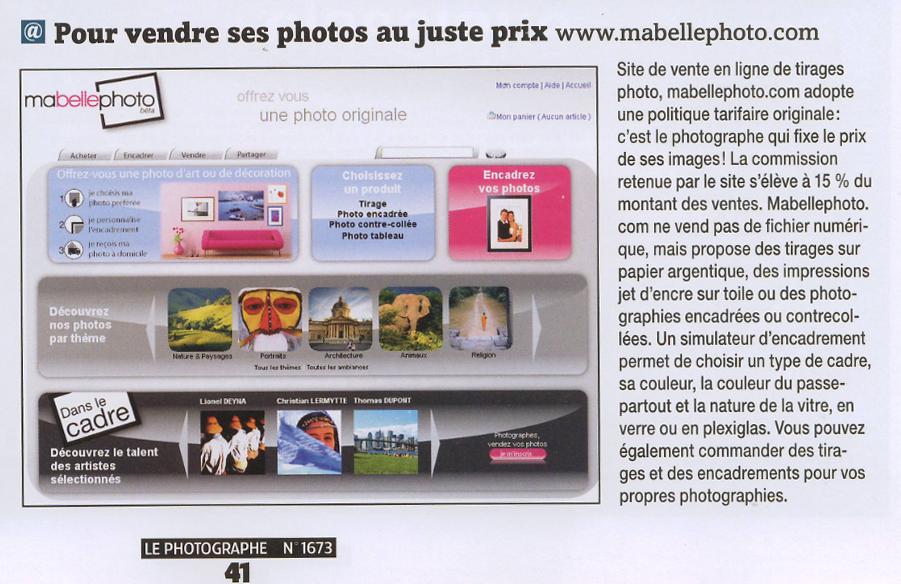 le photographe mai 20091 Article mabellephoto.com dans le magazine Le Photographe