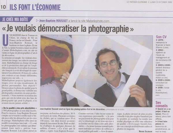 le parisien 12 10 2009 web mabellephoto.com dans le supplément économie du journal Le Parisien