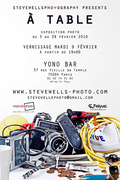 "a table steve wells1 Vernissage de l'exposition ""A table !"" par Steve Wells au Yono mardi 9 février à 19H   37 rue Vieille du Temple 75003 Paris"